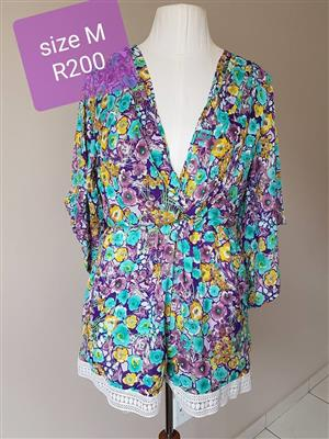 Purple and blue floral summer gown