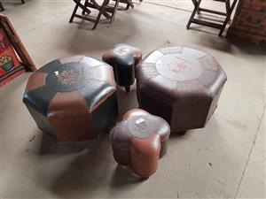 Set of 4 big and small ottomans for sale