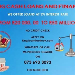 KING CASH LOAN: Offers Loans @3% Interest Rate From R20,000-R50 Million No Credit Check Apply On( king.loan@yahoo.com )WhatsApp Or Call +27736933093 For Information  https://kingloan.wixsite.com/kingloan-1 Facebook Page: https://web.facebook.com/kingcashloan.finance