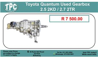 Toyota Quantum Gearbox 2.5 2Kd / 2.7 2Tr For Sale.