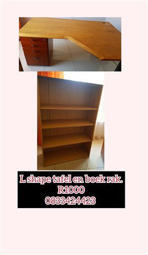 L shape desks and bookshelf for sale