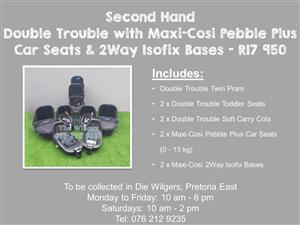 Second Hand Double Trouble with Maxi-Cosi Pebble Plus Car Seats and 2Way Isofix Bases