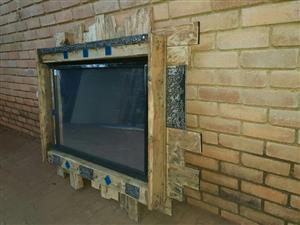 Blue pallet framed mirror for sale