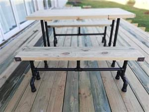 Deck table with 2 benches