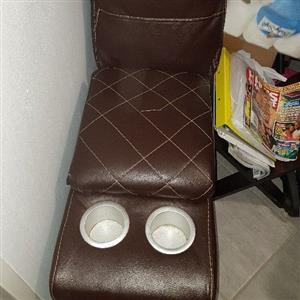 3 peace recliner L shaped leather lounge suite