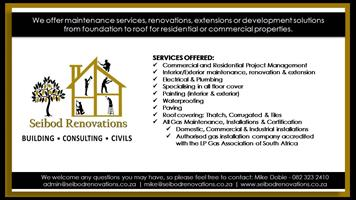 We offer maintenance services, renovations or development solutions from foundation to roof for residential or commercial properties.