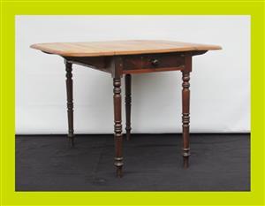 Victorian Mahogany Single Draw Double Drop Side Table(SKU 327)