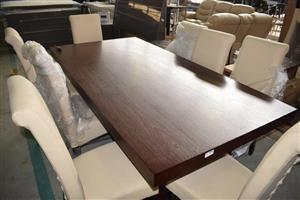 8 White seater wooden dining set