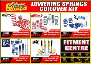 Lowering springs, coil-over coilover suspension kits springs and shocks