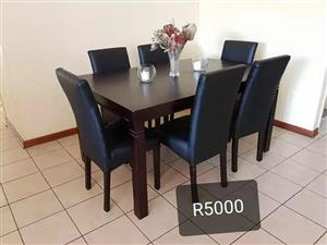 6 Leather seater dining set