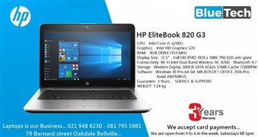HP EliteBook 820 G3 Ultrabook - 12.5-inch - Core i5 6th gen - 8GB DDR4 Ram 3 Year Guarantee