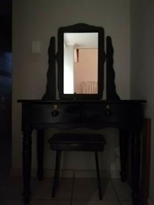 Black stained dressing table with chair