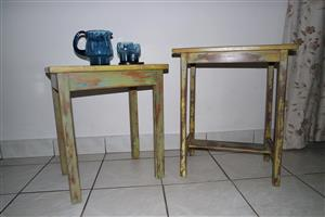Unique hand-painted side tables (price for both)