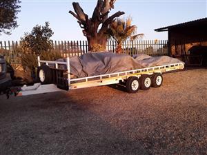 Flatbed trailer, 4,5m x 1,5m x 6 wheeler,