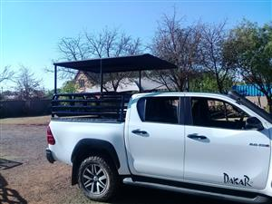 Hilux Gd 6 DC cattle rail /  Removable roof(game drive or hunting ) , canvas canopy and tonneau cover