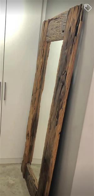 Solid sleeper wood mirror