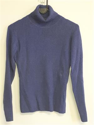 Cashmere Dark Blue Pullover Polo neck- Thick