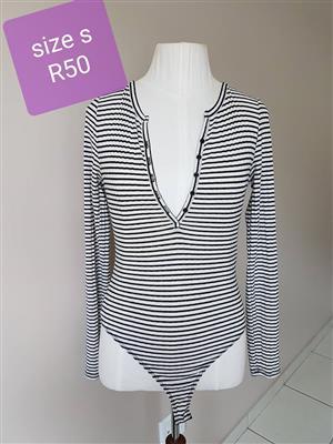 Size small black and white striped 1 piece bikini