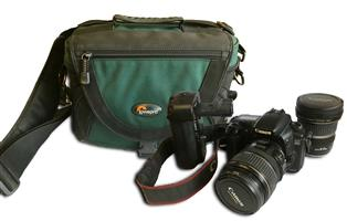 Canon 20D camera with lenses and bag