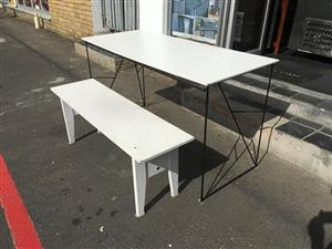 White table and bench for sale.