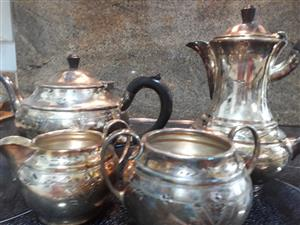 Silver plated tea set.  No. 3180 marking on all 4 items. Good condition.  (Items need polishing)