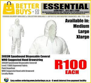 30GSM Spunbound Disposable Coverall Level 2 SABS Approved