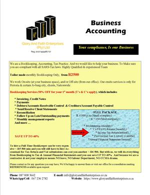 Business Accounting/Bookkeeping