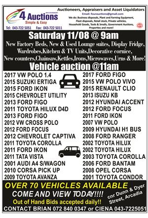 Saturday Auctions 11/08 from 9am, Vehicles at 11am. Come and view! See ad for details.