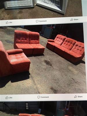 3 Piece orange lounge suite for sale