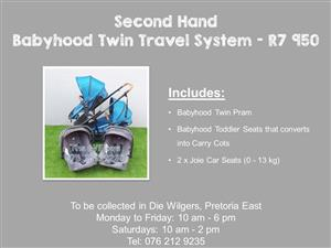 Second Hand Babyhood Twin Travel System with Joie Car Seats