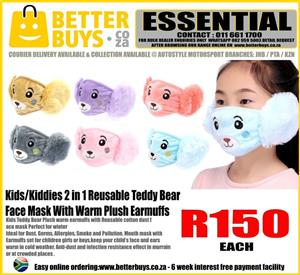 Kids/Kiddies 2 in 1 Reusable Teddy Bear Face Mask