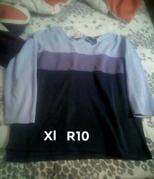 Blue purple and black long sleeve top