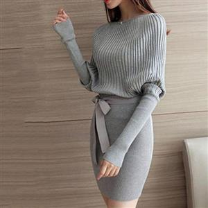 Bowknot Long Batwing Sleeve Elegant Knitted Sweater Dress One Size Fits All
