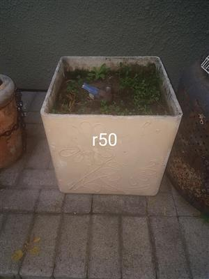 Smaller Beige square planter