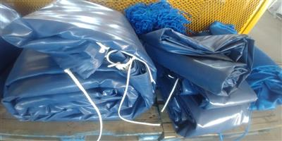 heavy duty pvc truk covers/tarpaulins an dcargo nets for superlink and tri-axle