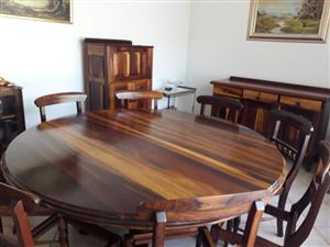 BLACK WOOD DINING ROOM TABLE + 8 CHAIRS, SERVING TROLLEY AND SIDEBOARD