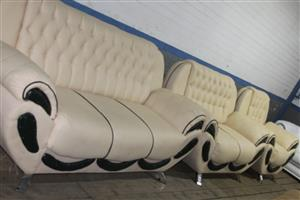 S034538A Cream leatherite 3 piece lounge suite #Rosettenvillepawnshop