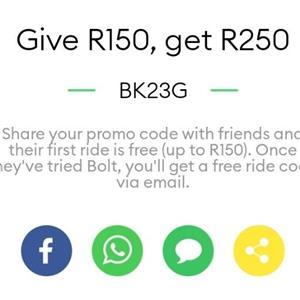 Taxify (Bolt) promo code worth R250: BK23G