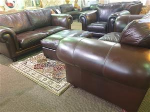 100% Genuine Full Leather 321 lounge suite for sale R 25500