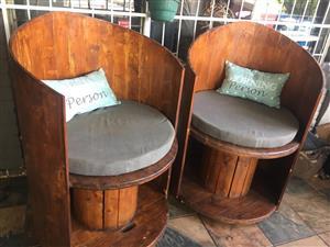 Wooden round chairs