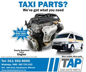 Toyota Quantum Taxi Petrol ENGINE - Quality used and tested engines -  Taxi Auto Parts  - TAP
