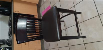 4 dark wood bar chairs