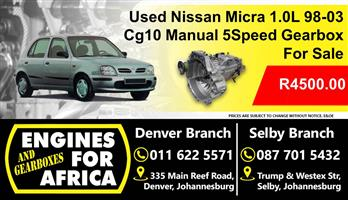 Used Nissan Micra 1.0L 98-03 Cg10 Manual 5Speed Gearbox For Sale