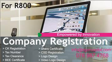 Company registration,Tax clerance,CSD,Ck certificate,Tax number,Logo Design,BEE
