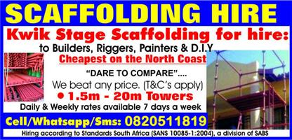 Scaffolding for Hire in Stanger/ Kwadukuza/ North Coast/ Ilembe