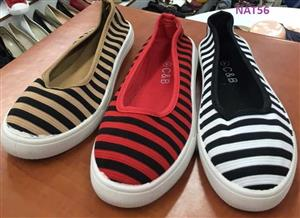 White,red and beige striped slip on shoes