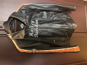 Ladies Harley Black & Orange Leather Bike Jacket