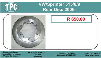 BLACK FRIDAY 29 NOV Vw / Sprinter 309 Rear Disc 2006