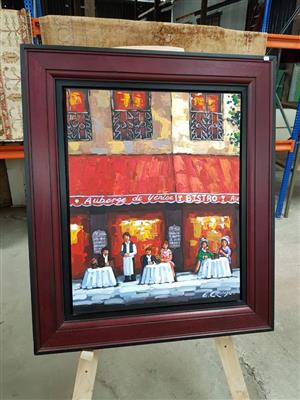 Red framed auberge de venice painting