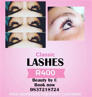 Classic and volume lashes combo on special